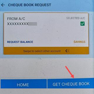 canara cheque book request