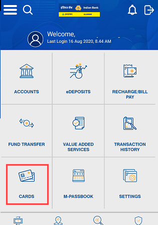 Indian Bank Mobile Banking Card Services