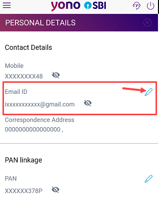 SBI update register email ID