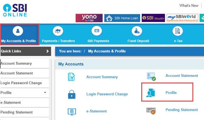 SBI net banking my account & profile