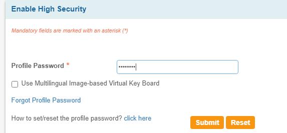 SBi enter profile password