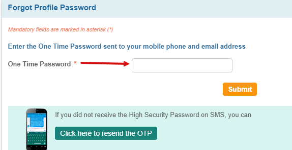 SBI Reset Profile Password & Hint Question Answer